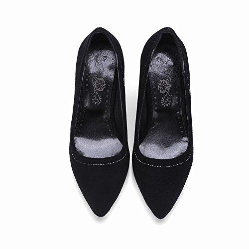 Charme Pied Femmes Mode Chunky Talon Haut Pompes Chaussures Noir