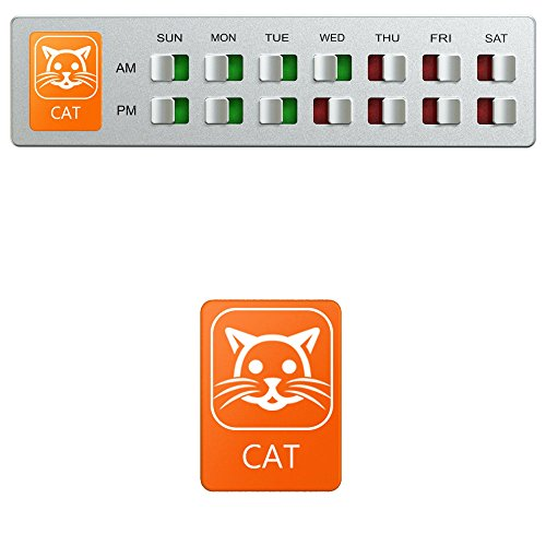 Cat Feeding or Medication Reminder – Pet Food Organizer - Am Pm Daily Indicator Sign - Fed or Feed the Kitten Supplies - Fridge Magnets and Double Sided Tape - Care for Your Cats with Glide Signs