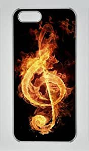 Fire Flame Music Note Iphone 5 5S Hard Shell with Transparent Edges Cover Case by Lilyshouse