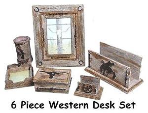 6 Pc Piece COWBOY Western Office DESK SET HOME DECOR