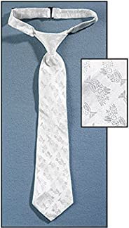 Boys Holy First Communion Gift Chalice Brocade 14 Inch White Satin Adjustable Dress Tie