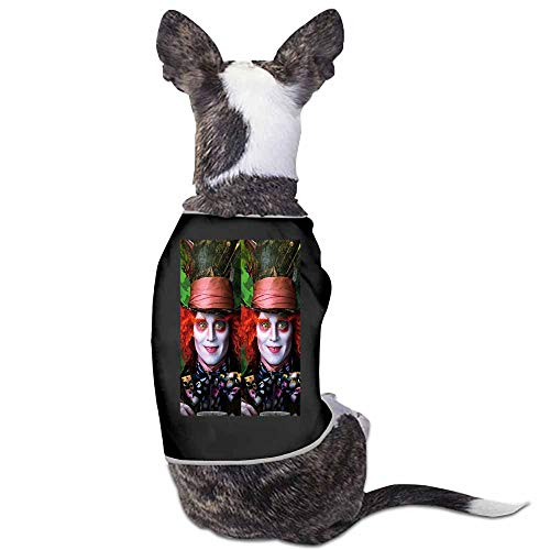 StyleDirect Spring and Summer Pet Dog Clothing Shirt,Alice in Wonderland Print Dog Costumes Pet Dog Clothes Shirt(Black)-S -