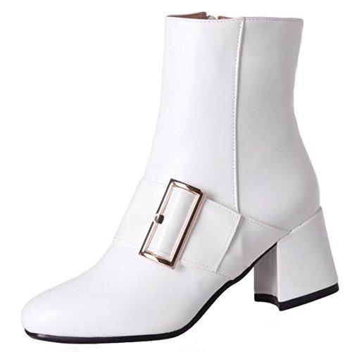 AIYOUMEI Damen Blockabsatz Stiefeletten mit Schnalle und 6cm Absatz Herbst-Winter Reißverschluss Stiefeletten Weiß