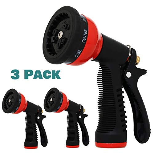 Garden Hose Nozzle Spray – 3 Packs Set 10 Patterns Water Hose Nozzle Watering Garden Flowers, Lawns, Washing Cars and Pets