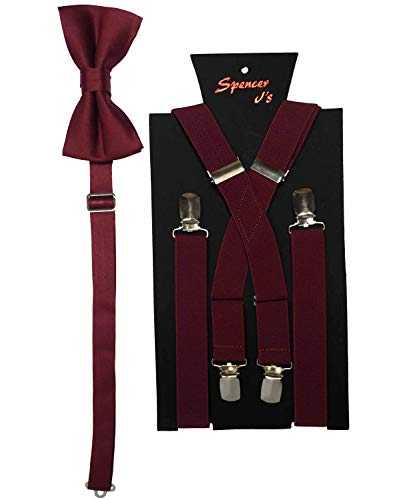 Spencer J's Men's X Back Suspenders & Bowtie Set Variety of Colors (Wine)]()