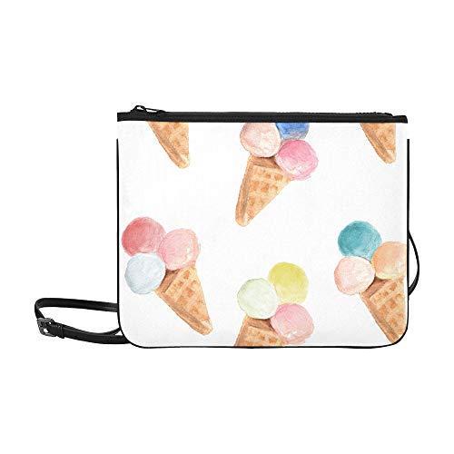 Over Fold Beaded Clutch (Ice Cream Cone Pattern Hand Drawn Watercolor Illu Pattern Custom High-grade Nylon Slim Clutch Bag Cross-body Bag Shoulder Bag)