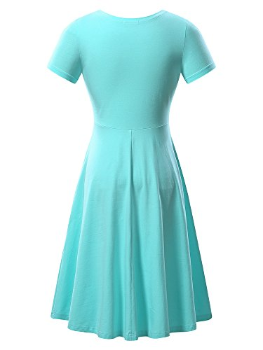 Casual Neck Summer Dress Flared Short HUHOT Light Women Sleeve Midi Blue Round 6qZHYSI