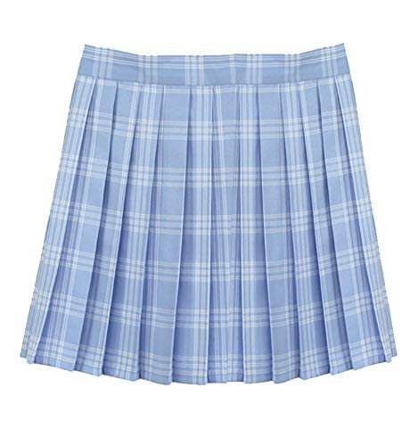 Women School Uniforms Plaid Pleated Costume Mini Skirt Button Pleated Mini Skirt