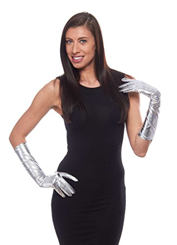 Long Silver Metallic Gloves (Shimmering Metallic Gloves in Gold or Silver 15