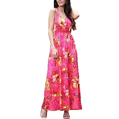 Vintage Print Floral red Maxi Summer Boho Dress Sundress Long TM Womens BetterGirl 3 wfqnFAI1x
