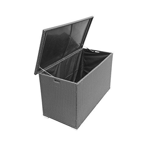 Radeway® Extra-large Deck Box Modern Backyard Outdoor Wicker Patio Storage Outdoor Storage Patio Deck Box W/ Cover, Black by Radeway