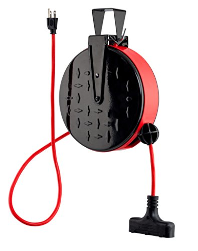 (CopperPeak 30 ft Retractable Extension Cord Reel - Ceiling or Wall Mount - 16 gauge - Red and Black)