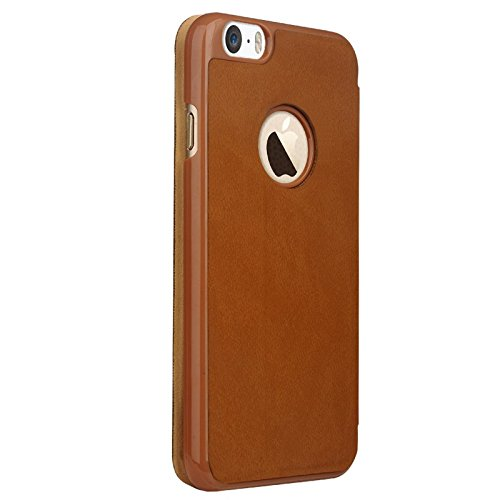 Apple iPhone 6 étui housse en cuir PU pochette avec rabat Slide Bouton Marron decui Marron Étui de protection en cuir PU
