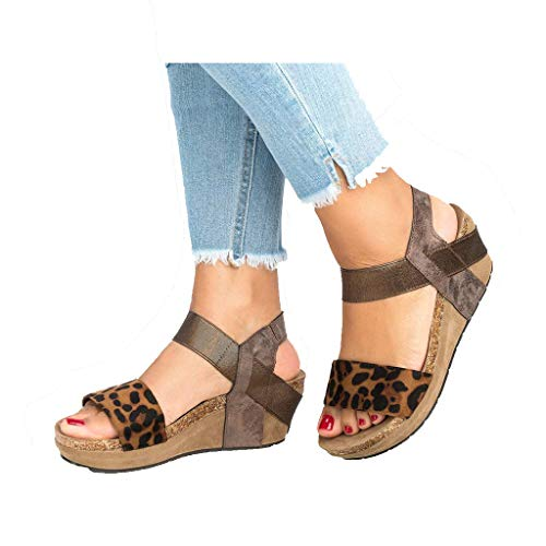 Women's Platform Sandals Espadrille Wedge Ankle Strap Studded Open Toe Sandals Peep Toe Beach Travel Flat Shoes