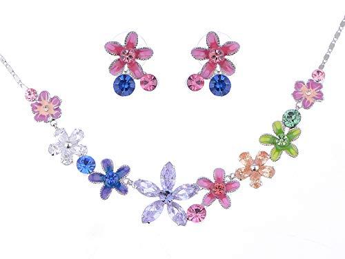 Alilang Fun Violet Swarovski Crystal Element Enamel Flower Link Earring Necklace Set