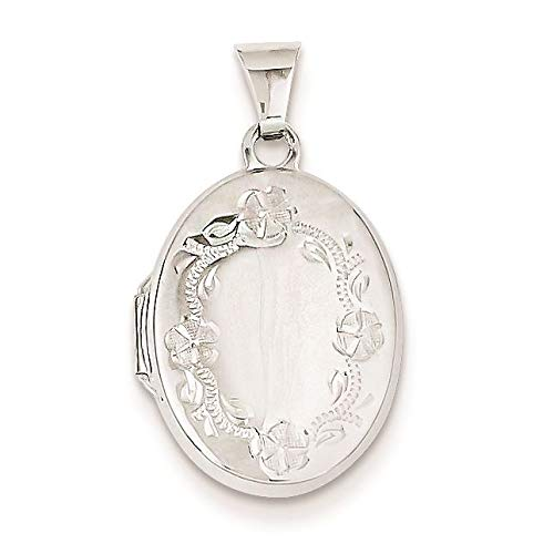 14K White Gold Floral Hand Engraved Oval Locket Charm Pendant ()