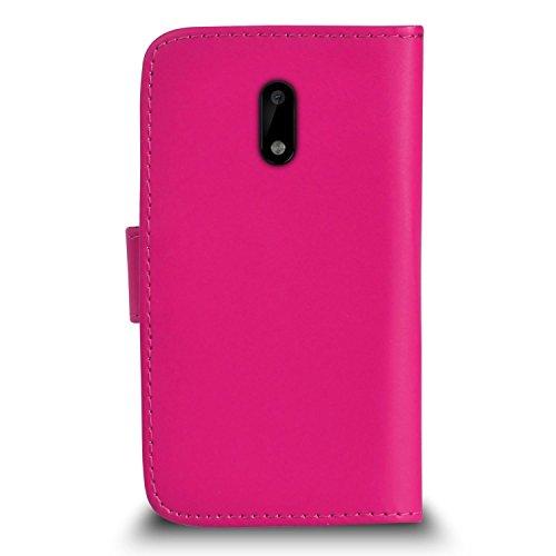 Schwarz Leder FLIP WALLET SLIM CASE COVER TASCHE mit Card Holder für Nokia 6 rose rose
