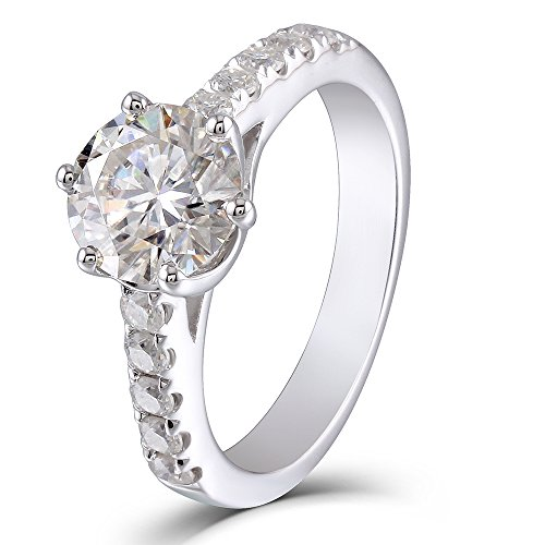 1.5ct Center 7.5mm H Color 2.9mm Width Moissanite Engagement Ring Solitare with Accents Sterling Silver (6)