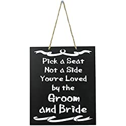 JennyGems - Wedding Signs - Wedding Decor Sign Pick A Seat Not A Side You're Loved by The Groom And Bride - Wedding Reception & Ceremony Decoration Chalk Style Sign - Wedding Directional Decorations