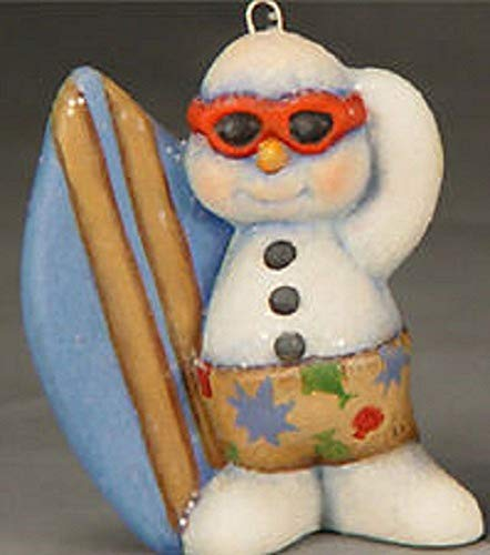 Surfer Snowman Christmas Ornament - Ready to Paint Ceramic Bisque - Hand Poured in The USA