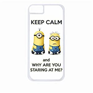 Keep calm and why are you staring at me?-Hard White Plastic Snap - On Case with Soft Black Rubber Lining-Apple Iphone 4 - 4s - Great Quality!