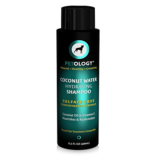Petology Natural Coconut Dog Shampoo - Hydrating Dog Shampoo For Dry Skin - Coconut Oil & Vitamin E Nourishes & Replenishes - Sulfate-Free Concentrated Formula - 13.5 oz by Petology