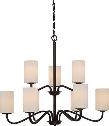 Nuvo Lighting 60/5909 Willow 9 Light 100W A19 Max. Medium Base Chandelier 2 Tier with White Glass, Aged Bronze (Tier Lamp 2)