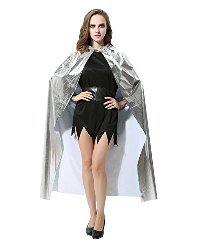 Anlydia Glamorous Shiny Costume King Queen Cape Cloak for Party Halloween (Glamorous Witch Halloween Makeup)