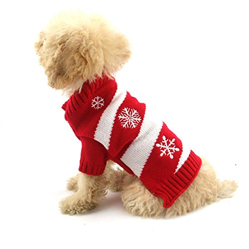 Mikey Store Pet Dog Christmas Snowflake Clothes Puppy Winter Sweater Costume Coat (Red, M) For Sale