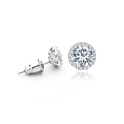 Platinum Plated 1CT Cubic Zirconia Round-Cut Halo Stud Earrings