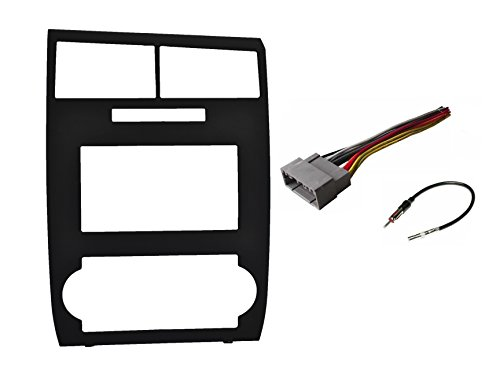 Double Din Installation Kit Fits Dodge Magnum (2005-2007) Dodge Charger (2006-2007) Black Factory Matched Color with Wire Harness and Antenna Adapter Complete