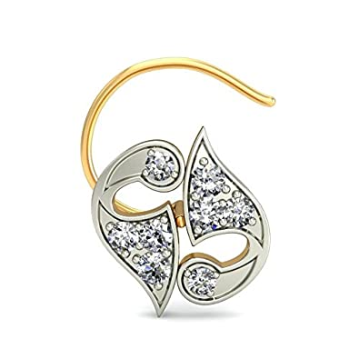 Belle Diamante 18KT Yellow Gold and Diamond Nose Pin Nose Pins at amazon