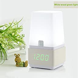 Lcyyo@ Creative Sound Control Multifunctional LED Alarm Clock LED Desk Lamp with Time Display & Snooze Function & Charging Adapter for Living Room, Bedroom (White Wood, Green Light)