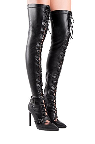 Jeffrey Campbell Claudel-Hi Black Stretch Thigh High Cut Out Pointed Boots d2XDEp1jf