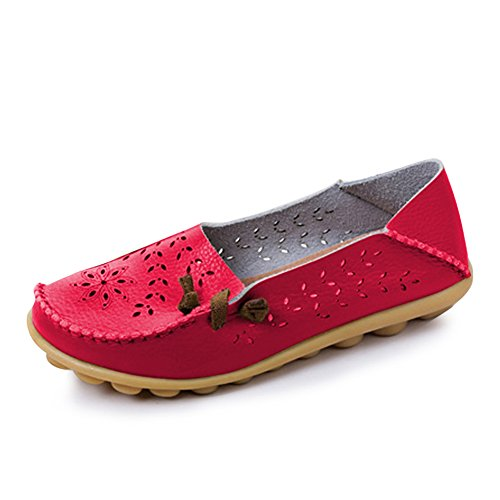 Blivener Mujeres Casual Mocasines Hollow Zapatos Planos Summer Slippers Red