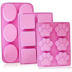 YuCool - Bandejas para moldes de jabón de silicona de 6 cavidades, paquete de 3 moldes para gelatina para hornear, decoración para pasteles, bandeja para hielo con forma de pata para perro cachorro, ovalada, cuadrada - 3 tipos (rosas fuertes)