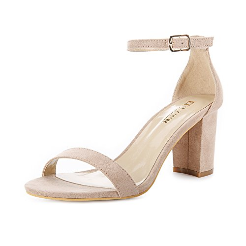 Eunicer Women's Classic High Heel Chunky Pump Sandals with Ankle Strap Block Heel Dress Shoes ()