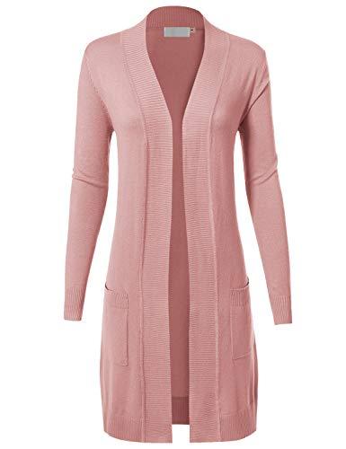MAYSIX APPAREL Womens Long Sleeve Long Line Knit Sweater Open Front Cardigan W/Pocket Dustypink - A-line Vest