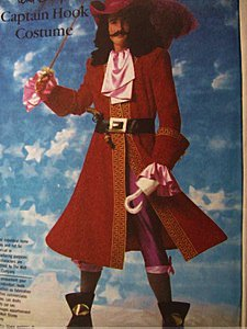(Simplicity 7791 Walt Disney's Captain Hook Costume Sewing Pattern Child Size 6-8 (Chest 25-27) Vintage 1980s)