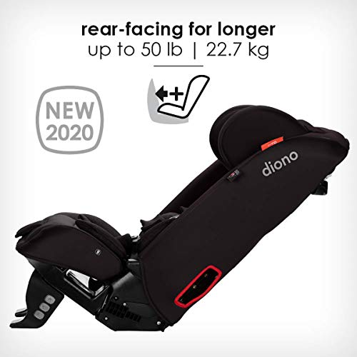 Diono Radian 3RXT, 4-in-1 Convertible Extended Rear And Forward Facing Convertible Car Seat, Steel Core, 10 Years 1 Car Seat, Ultimate Safety And Protection, Slim Design - Fits 3 Across, Jet Black