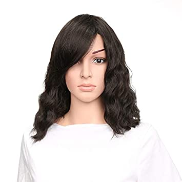 JF-O Peluca Hembra Oblicua Negra Flequillo Corto Peluca de Pelo Rizado Uso Diario Fibra