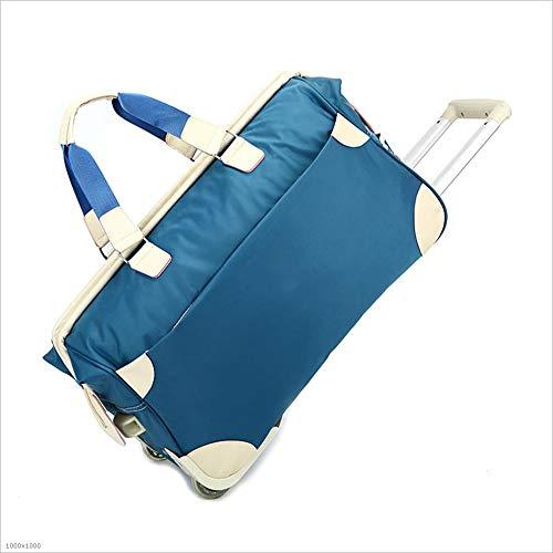 旅行用バッグ 大容量ギフトトロリーバッグナイロンポータブルトラベルトロリーバッグ屋外旅行荷物袋 キャビンオンフライト&ホールドオール (色 : 青) B07PSCSR13 青