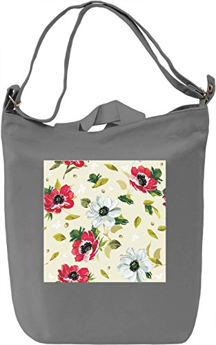 Red and White Flowers Pattern Borsa Giornaliera Canvas Canvas Day Bag| 100% Premium Cotton Canvas| DTG Printing|