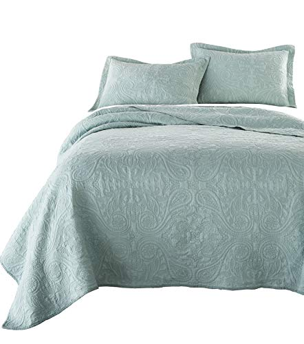 Chezmoi Collection Melissa 3-Piece Vintage Floral Paisley 100%-Cotton Quilt Set (King, Green) - Floral Blanket Green