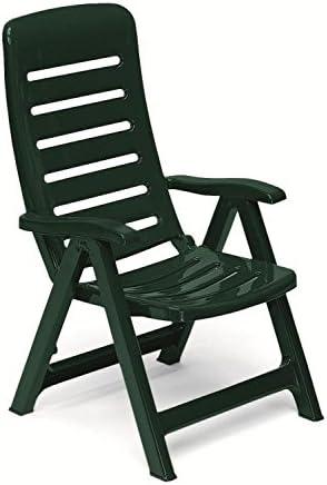 Sillón de resina verde oscuro, sillones plegables de exterior, sillón de plástico ajustable, sillón con reposabrazos Quintilla: Amazon.es: Hogar