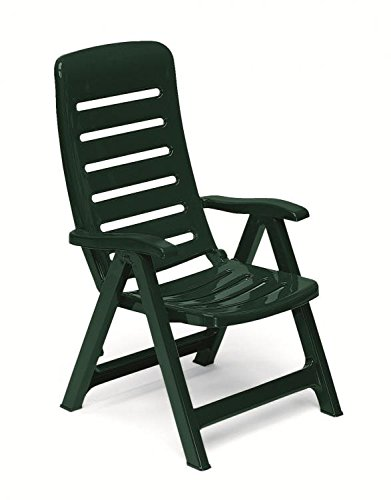 Sillón de resina verde oscuro, sillones plegables de ...