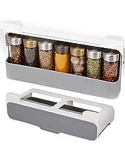 WishHome Aan de muur gemonteerde kruidenrek, kruidenorganizer voor kastdeuren, zelfklevende perforatievrije ondersteboven kast Spice Bottle Storage Rack