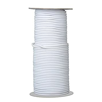 White Elastic Cord//Round Rubber Fabric Crafting Stretch Elastic Cord String//50 Yards Length 2mm Dia.