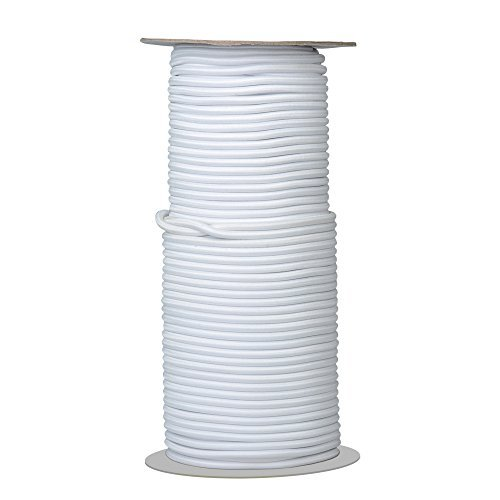 Elastic Cord/Round Rubber Fabric Crafting Stretch Elastic Cord String/50-Yards Length 3mm Dia.(White)