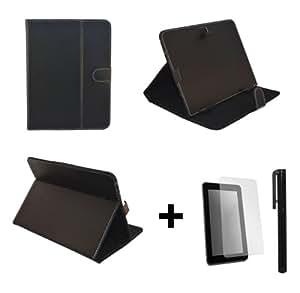 """Negro-Funda de piel sintética para Kogan Agora de 8 """"con función atril, protector de pantalla y lápiz capacitivo"""